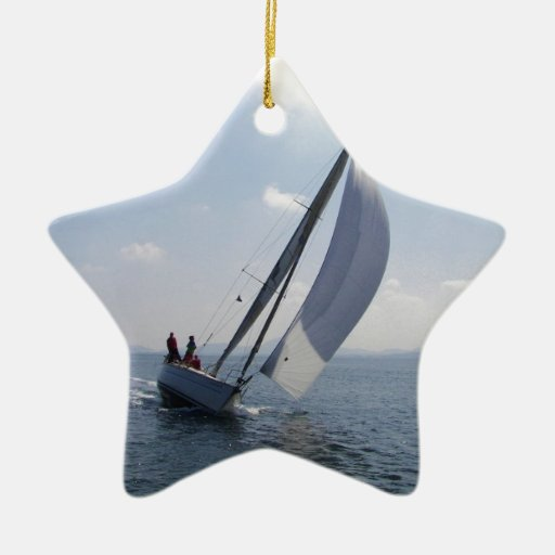 Racing yacht at speed. christmas ornaments