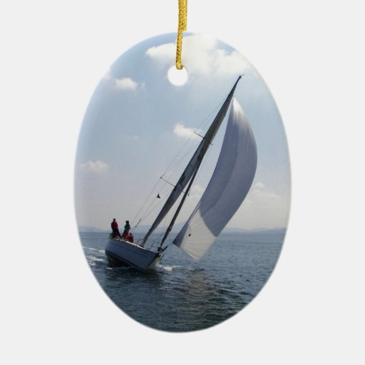 Racing yacht at speed. ornament