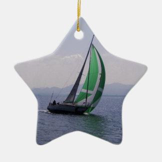 Racing yacht. ceramic ornament