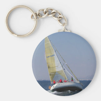 Racing yacht from behind. key chain