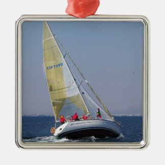 Racing yacht from behind. metal ornament