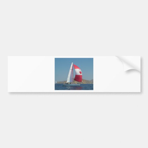 Racing Yacht With Canadian Spinnaker Bumper Sticker