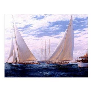 Racing yachts and a three-master at anchor postcard