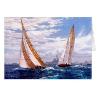 Racing yachts and battleships card