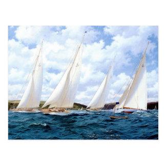 Racing yachts at sea during a race postcard