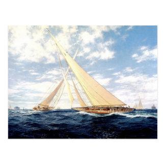 Racing yachts at sea postcard