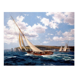 Racing yachts off the Isle of Wight Postcard