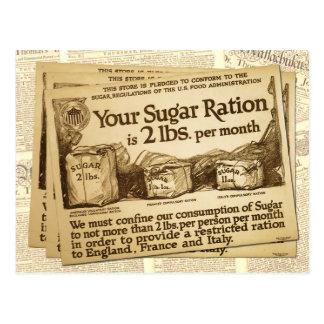 Ración del azúcar, poster de WWI Tarjeta Postal