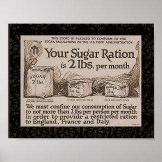 """""""Ración del azúcar WW1 """" Poster"""