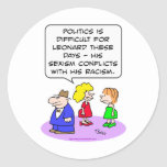 racism conflicts sexism politics round stickers
