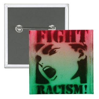 Racismo de la lucha en negro y verde rojos pin cuadrado