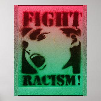 Racismo de la lucha en negro y verde rojos póster