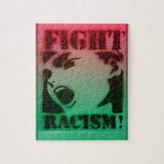 Racismo de la lucha en negro y verde rojos rompecabeza