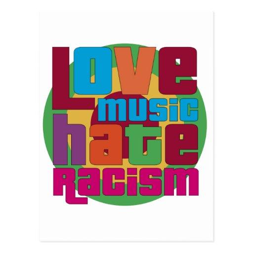 Racismo del odio de la música del amor postales