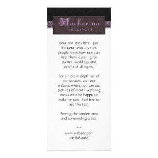 Rack Card Damask Purple Black