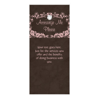 Rack Card Jewelry Diamond Floral Pink Brown