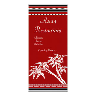 Rack Card Menu Red Black White Asian Bamboo