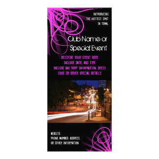 Rack Card Printing, Pink Night Club or Party Theme