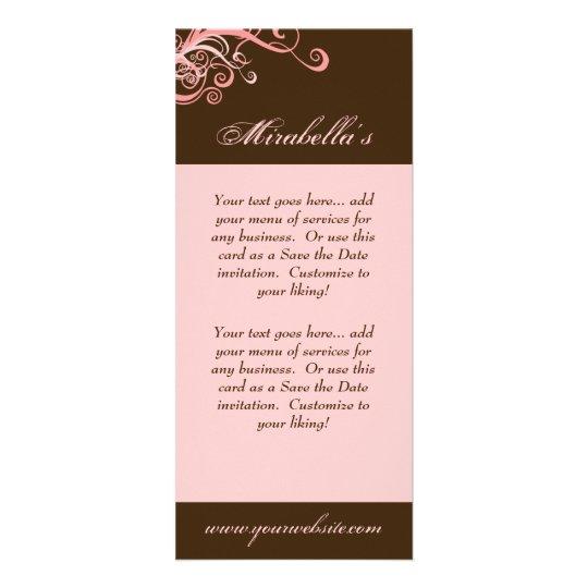 Rack Card Swirl Salon Spa Pink Brown
