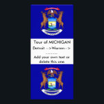 """Rack Card with Flag of Michigan, U.S.A.<br><div class=""""desc"""">Rack card with Flag of Michigan,  United States of America. This product its customizable.</div>"""