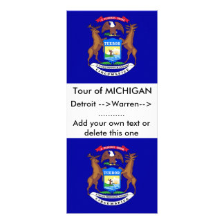 Rack Card with Flag of Michigan, U.S.A.