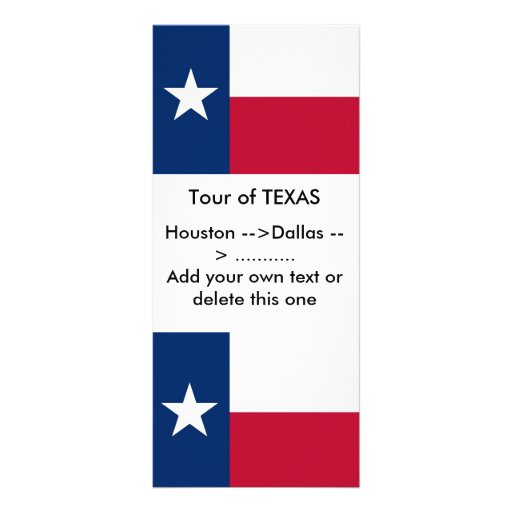 Rack Card with Flag of Texas, U.S.A.