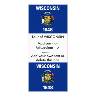 Rack Card with Flag of Wisconsin, U.S.A.