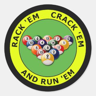 RACK 'EM - CRACK 'EM AND RUN 'EM CLASSIC ROUND STICKER