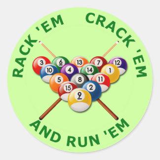 Rack 'em Crack 'em and Run 'em Classic Round Sticker