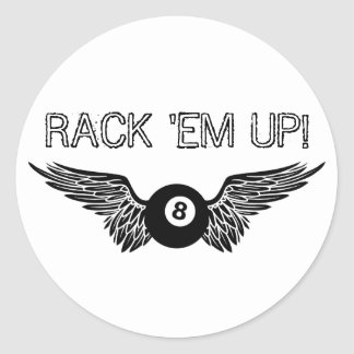 rack 'em up! : flying eightball round stickers