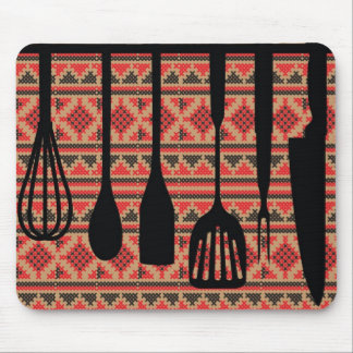 Rack of kitchen utensils mouse pad
