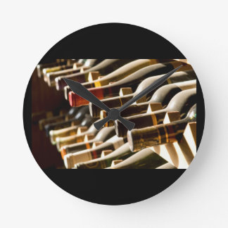 RACK OF WINE BOTTLES WALL CLOCK