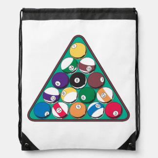 Racked Billiard Balls Drawstring Backpack