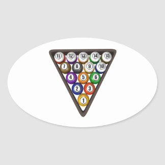 Racked Pool Balls Oval Sticker