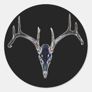Rackgrafix Neon Buck Skull Sticker, Round