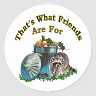 Racoon Friends Classic Round Sticker