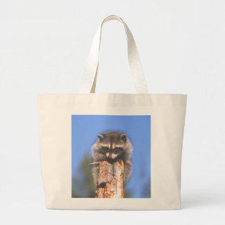 Racoon on Stump Large Tote Bag