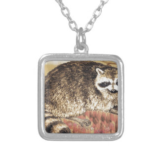 Racoon Raccoon Square Pendant Necklace