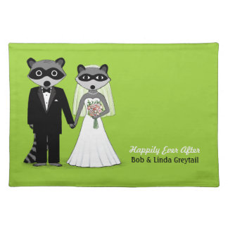 Racoons Bride and Groom - Wedding Couple with Text Placemat