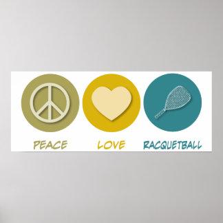 Racquetball del amor de la paz impresiones