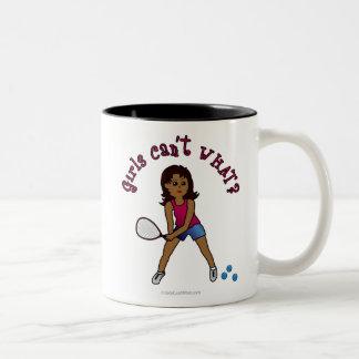 Racquetball Girl (Dark) Two-Tone Coffee Mug