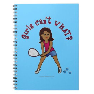 Racquetball Girl (Dark) Spiral Notebook