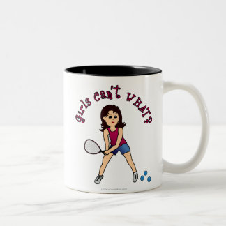 Racquetball Girl (Light) Two-Tone Coffee Mug