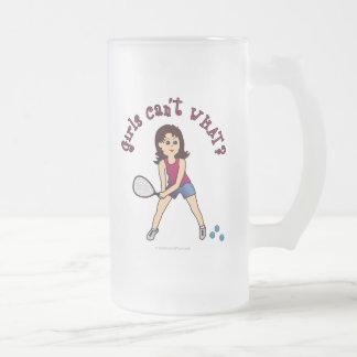 Racquetball Girl (Light) 16 Oz Frosted Glass Beer Mug