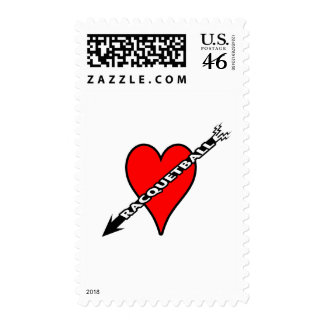Racquetball Heart Postage Stamp