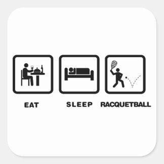 Racquetball Calcomanías Cuadradass Personalizadas