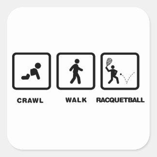 Racquetball Calcomania Cuadrada Personalizada