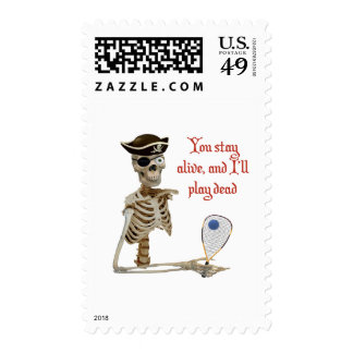 Racquetball Pirate Stay Alive Stamp
