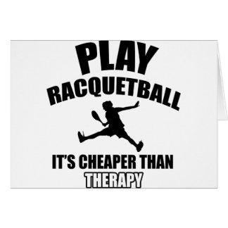 Racquetball player designs card