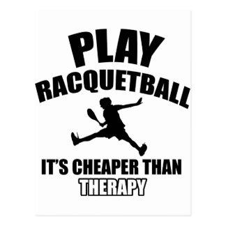Racquetball player designs postcard